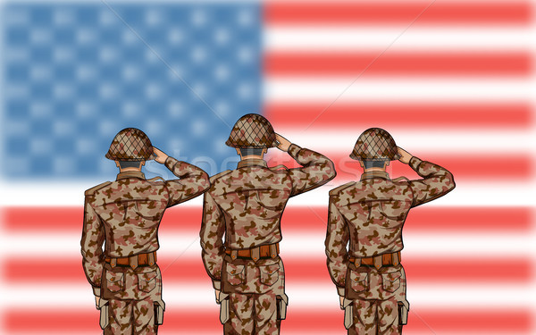 Soldier saluting on Fourth of July background for Happy Independence Day of America Stock photo © vectomart