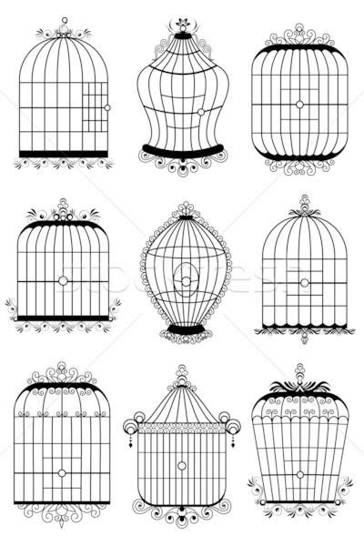 Kuş kafesi örnek ayarlamak farklı stil arka plan Stok fotoğraf © vectomart