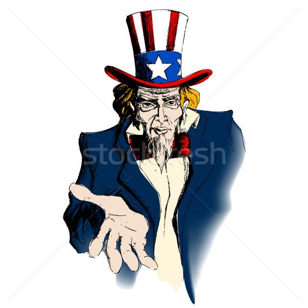 Tio ilustração retrato guerra azul retro Foto stock © vectomart