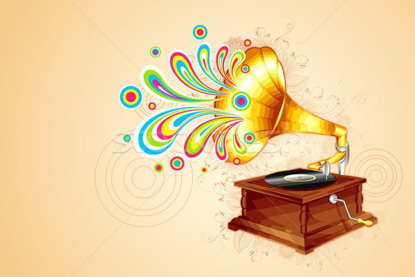 Antiguos gramófono ilustración colorido remolino fuera Foto stock © vectomart