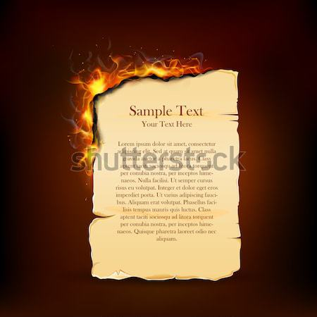 Burning Piece of Vintage Paper Stock photo © vectomart