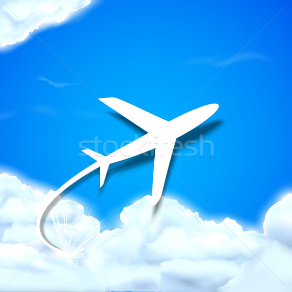 Airplane flying in Clouds Stock photo © vectomart