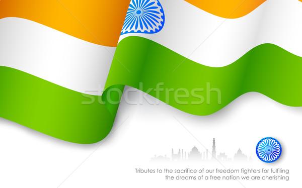 индийской триколор флаг иллюстрация высокий Сток-фото © vectomart