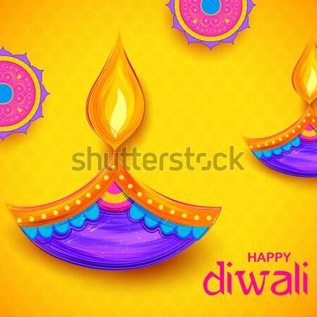 Felice diwali illustrazione design lampada fiamma Foto d'archivio © vectomart