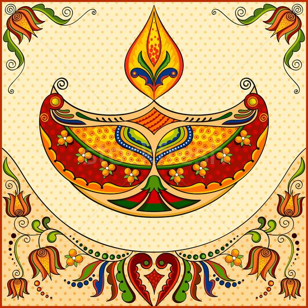 Feliz diwali ilustração floral luz projeto Foto stock © vectomart
