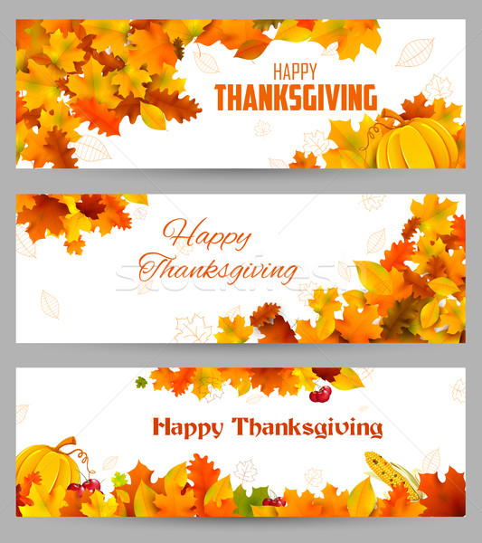 Happy Thanksgiving celebration background with maple leaf Stock photo © vectomart