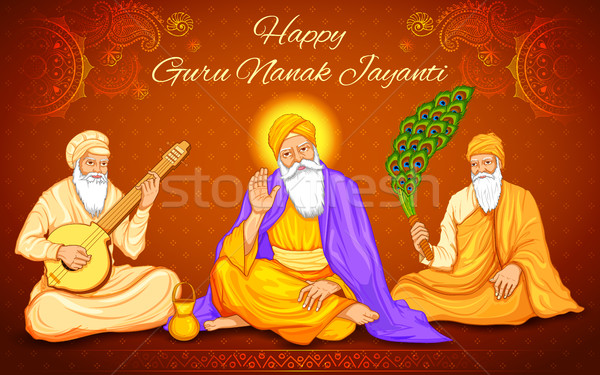 Happy Guru Nanak Jayanti festival of Sikh celebration background Stock photo © vectomart