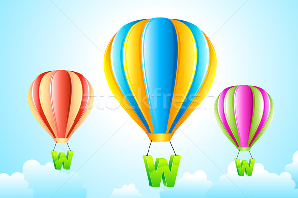 WWW Hanging from Hot Air Balloon Stock photo © vectomart