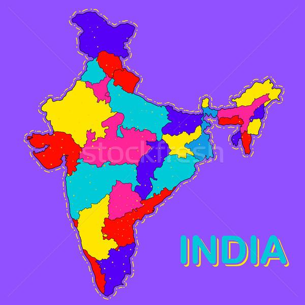 Dettagliato mappa India Asia tutti paese Foto d'archivio © vectomart