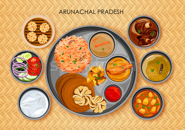 Traditional Arunachali cuisine and food meal thali of Arunachal Pradesh India Stock photo © vectomart