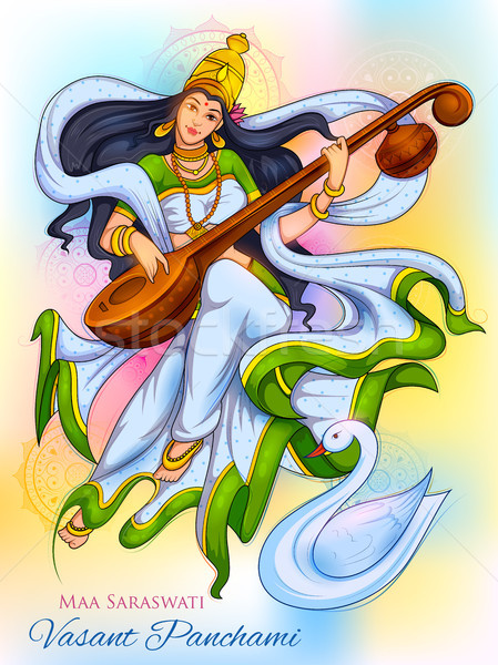 Goddess of Wisdom Saraswati for Vasant Panchami India festival background Stock photo © vectomart