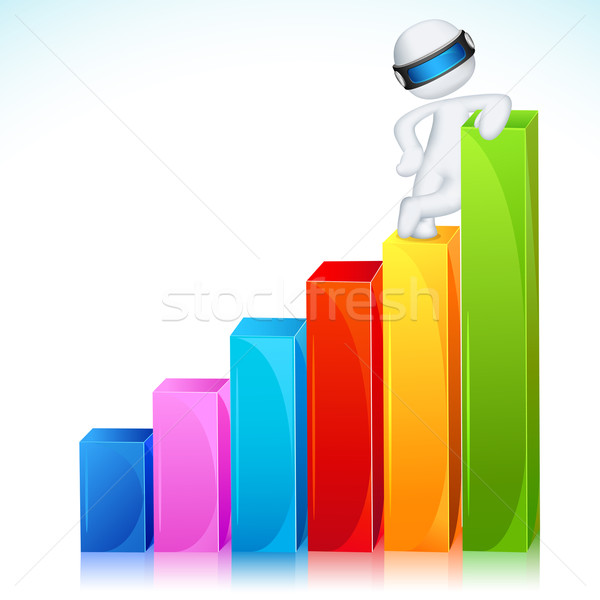 3d Man in Vector Standing on Bar Graph Stock photo © vectomart