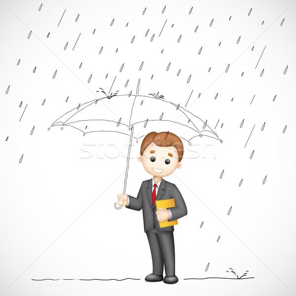 Hombre de negocios paraguas ilustración 3D vector lluvioso Foto stock © vectomart