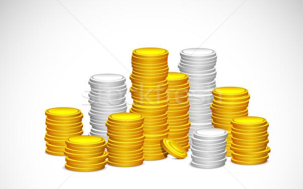 Oro plata moneda ilustración resumen Foto stock © vectomart