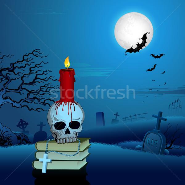 Candle on Skull in Halloween Night Stock photo © vectomart