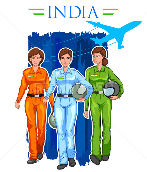Women pilot on Indian background showing developing India Stock photo © vectomart