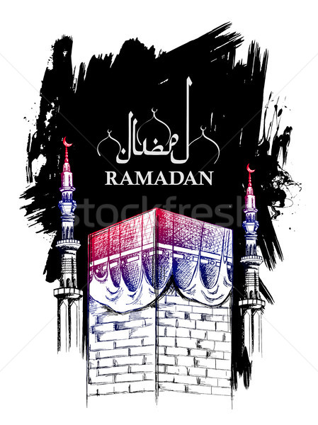 Ramadan Kareem Generous Ramadan greetings for Islam religious festival Eid with freehand sketch Mecc Stock photo © vectomart