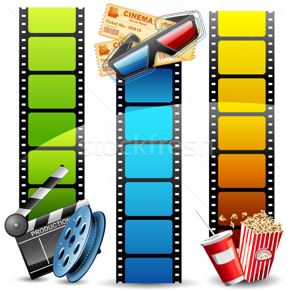Film sjabloon illustratie kleurrijk film reel pop Stockfoto © vectomart