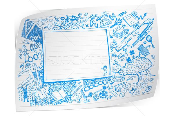 Terug naar school doodle illustratie papier potlood onderwijs Stockfoto © vectomart