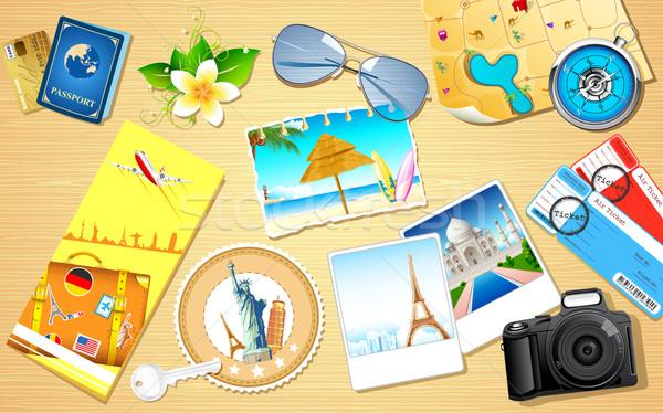 Seyahat örnek fotoğraf kamera kâğıt Bina Stok fotoğraf © vectomart