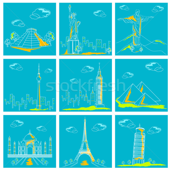Set of Famous Monument around the World Stock photo © vectomart
