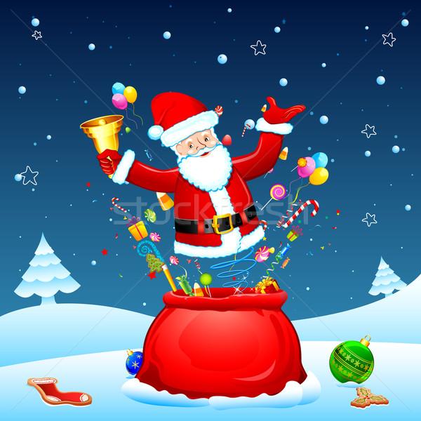 Santa poing from Sack Stock photo © vectomart