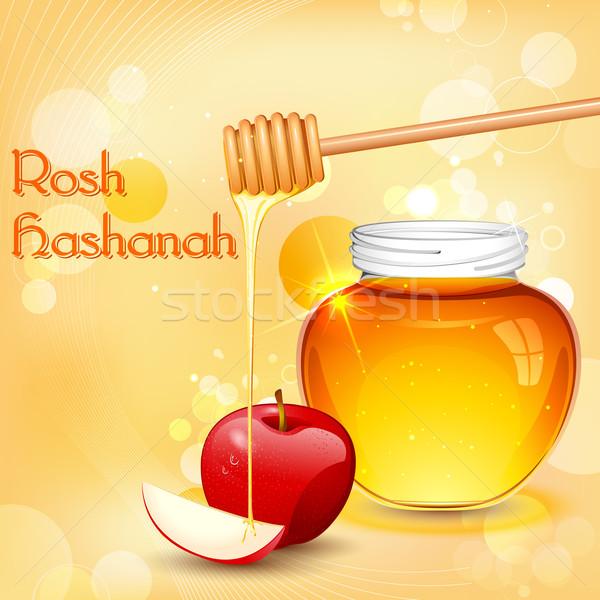 Ilustración miel manzana alimentos postre celebración Foto stock © vectomart