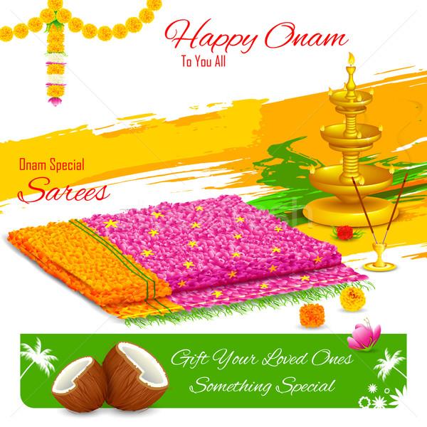 Gift of saree in Happy Onam Stock photo © vectomart