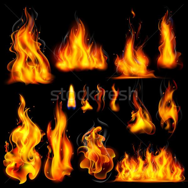 Gerçekçi yanan yangın alev örnek siyah Stok fotoğraf © vectomart