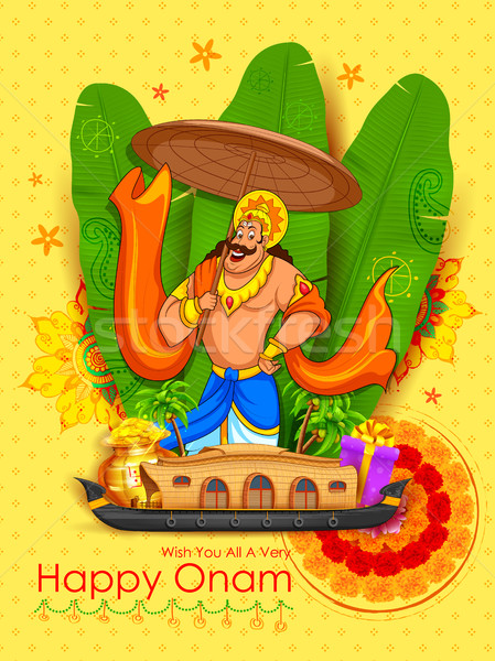King Mahabali in Onam background showing culture of Kerala Stock photo © vectomart