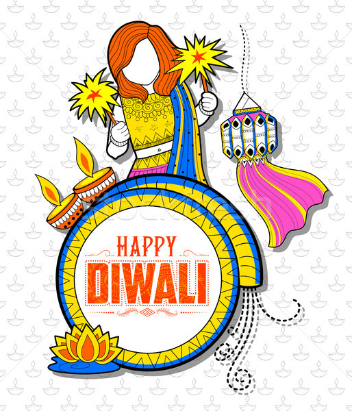 Stock photo: Kid celebrating happy Diwali Holiday doodle background for light festival of India