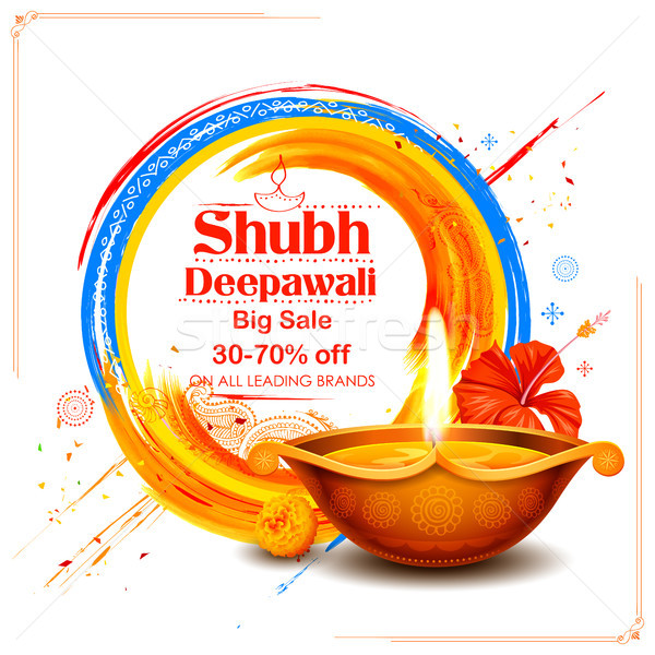 Burning diya on Shubh Deepawali meaning Happy Diwali Holiday Sale promotion advertisement background Stock photo © vectomart
