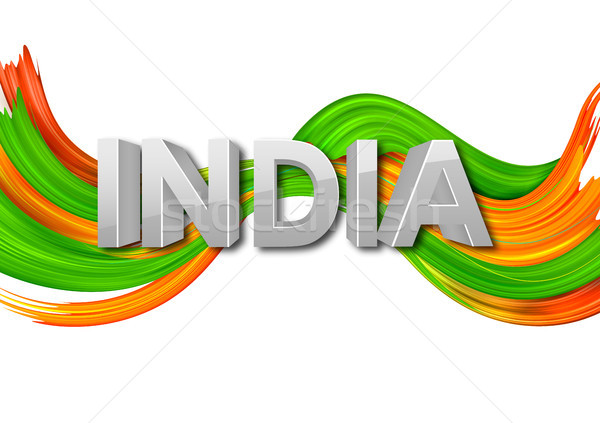Stockfoto: Acryl · borstel · driekleur · banner · indian · vlag
