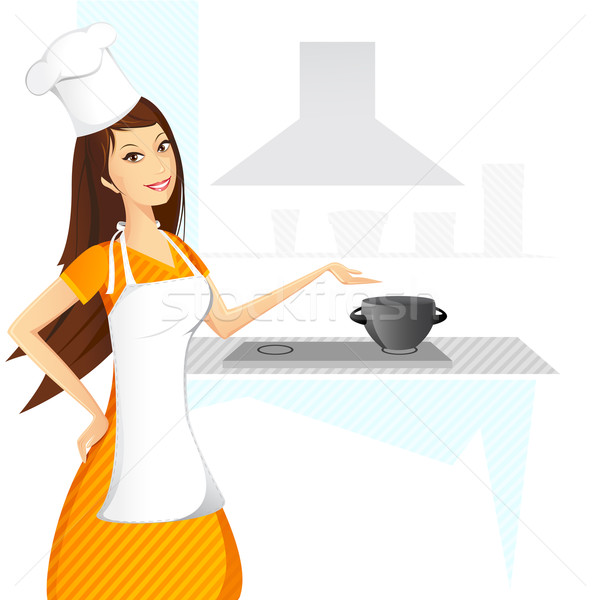 Dame kok illustratie koken keuken abstract Stockfoto © vectomart