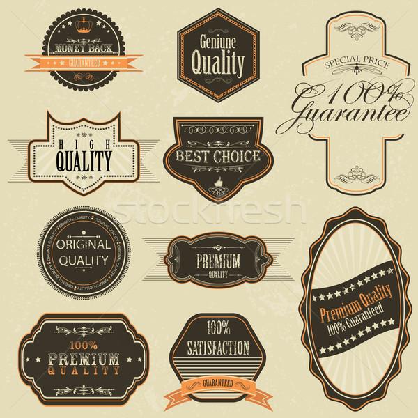 Vintage premie kwaliteit label illustratie ingesteld Stockfoto © vectomart