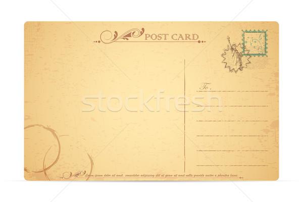 Szobor hörcsög képeslap illusztráció bélyeg utazás Stock fotó © vectomart