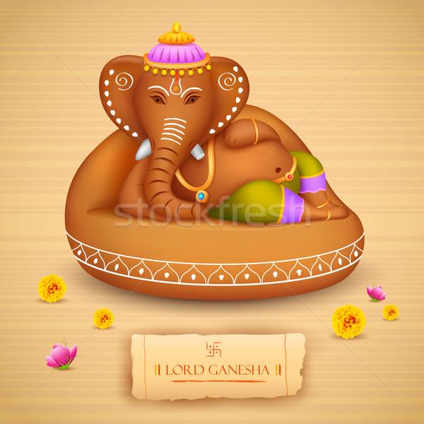Illustrazione statua argilla fiore dio elefante Foto d'archivio © vectomart