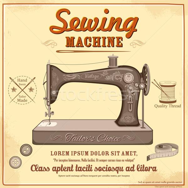 Vintage швейные машины иллюстрация моде дизайна промышленности Сток-фото © vectomart