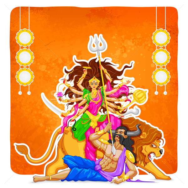 Goddess Durga in Subho Bijoya (Happy Dussehra) background Stock photo © vectomart