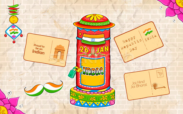 India kitsch style post box and letter Stock photo © vectomart