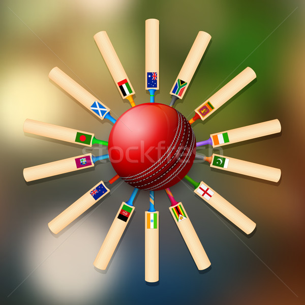 Cricket bat of different participating countries Stock photo © vectomart