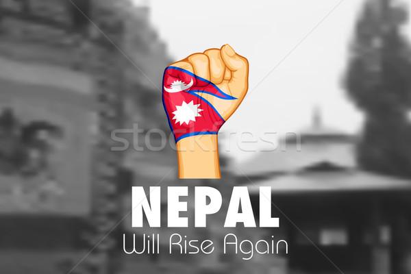 ネパール 地震 2015 ヘルプ 実例 寄付 ストックフォト © vectomart