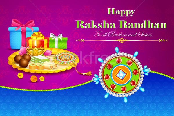 Decorated thali with rakhi for raksha bandhan Stock photo © vectomart