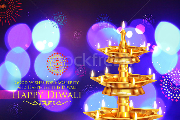 Golden diya stand on abstract Diwali background Stock photo © vectomart