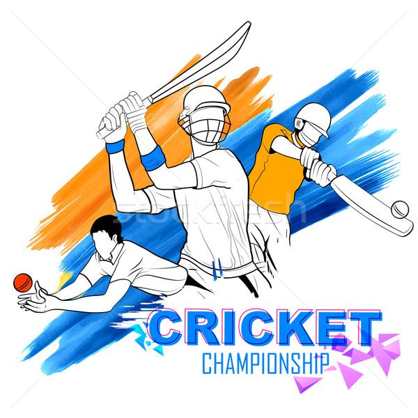 Giocare cricket campionato illustrazione sfondo sport Foto d'archivio © vectomart