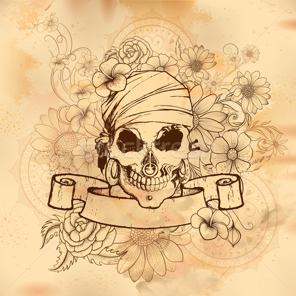 Vintge style grungy skull print retro background Stock photo © vectomart
