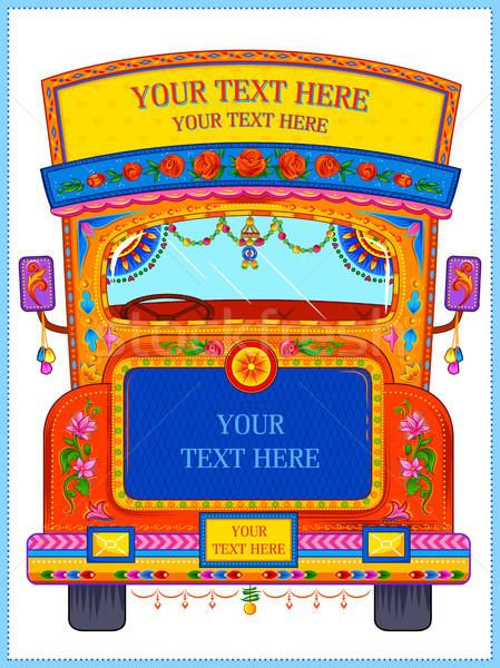 Renkli karşılama afiş kamyon sanat Stok fotoğraf © vectomart