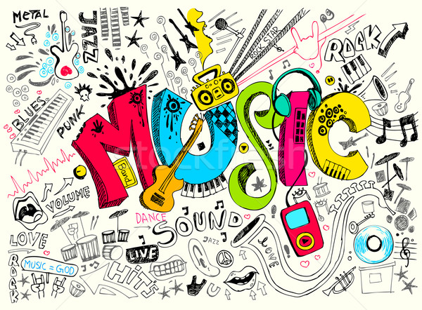 Musique doodle illustration style main fête Photo stock © vectomart