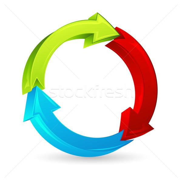 Kolorowy arrow ilustracja biały działalności tle Zdjęcia stock © vectomart