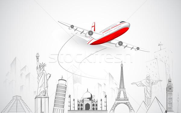 Avion battant au-dessus monde illustration croquis Photo stock © vectomart